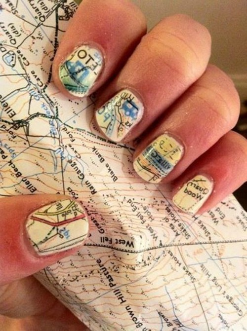 Nail Design with Newspaper