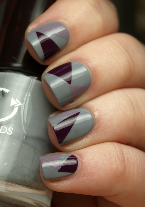 Two color Geometric Nail Art