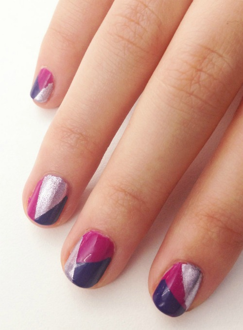 3-Shade Geometric Nail Art Design