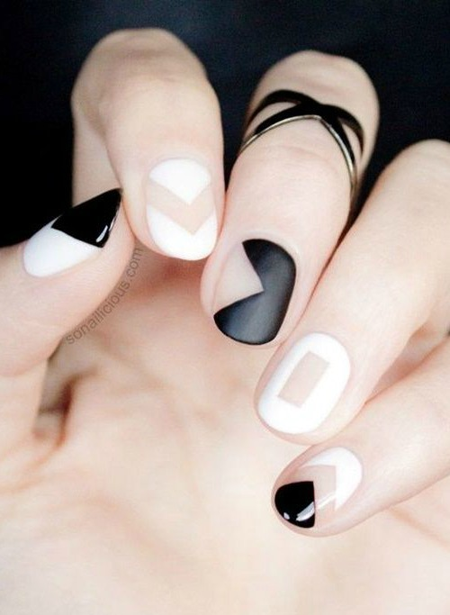 Black and White Abstract Inspired Nail Art Design