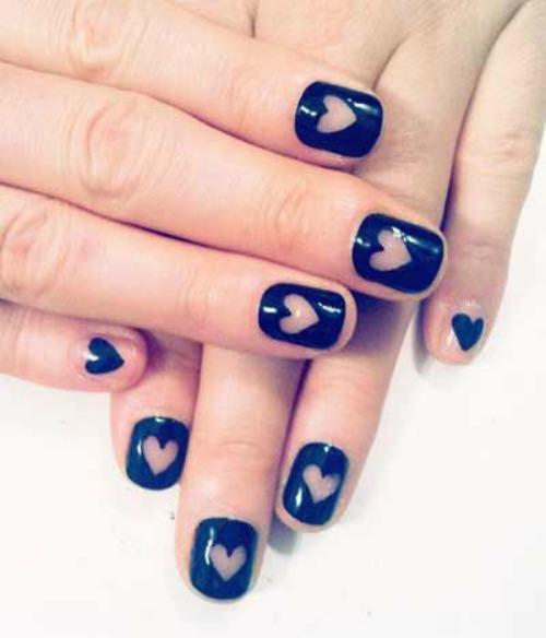 Hearts Design Nail Art