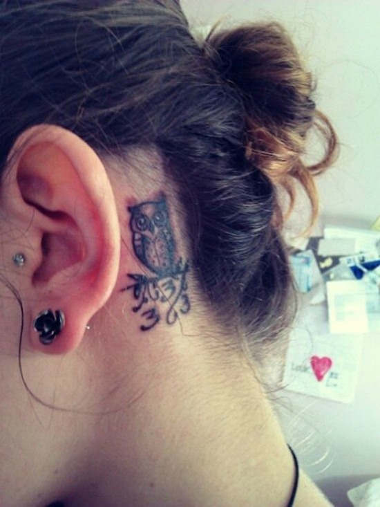 small owl tattoo behind the ear