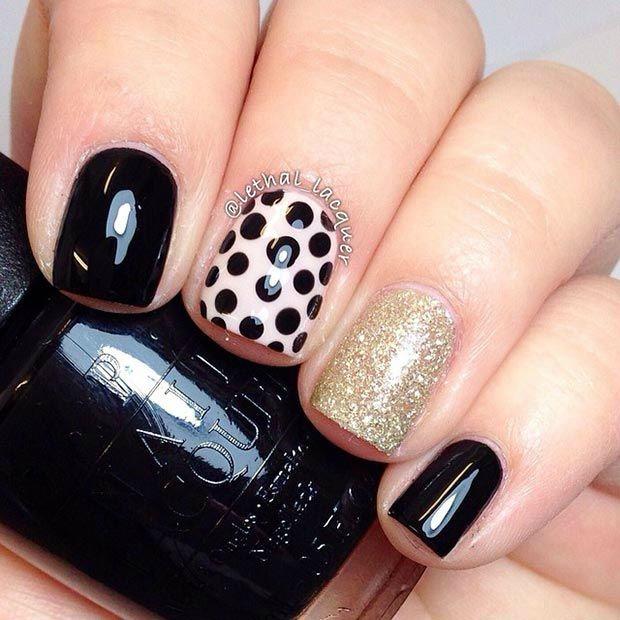Black And Gold Nail Design