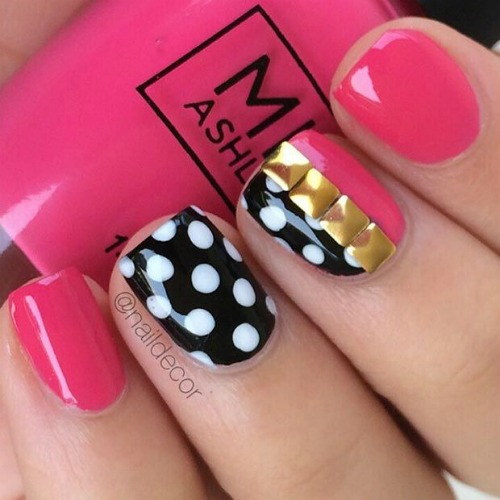 Crystal Nail Art Cute Pink and White