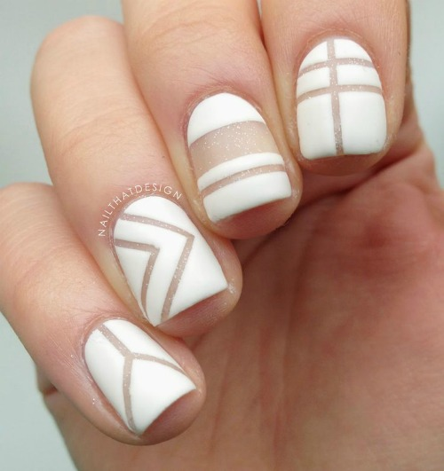 40 beautiful geometric nail art ideas youll love fashion white geometric nail art prinsesfo Images