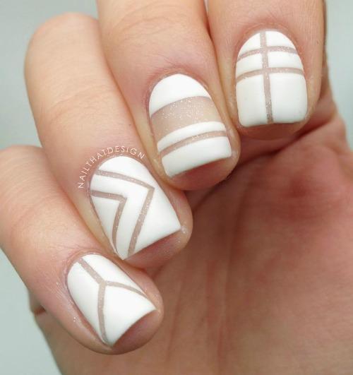 Fashion White Geometric Nail Art