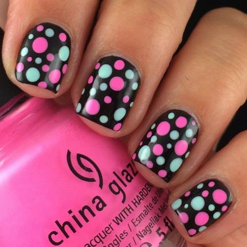 Ombre Pink & Black Polka Dot Nail Art