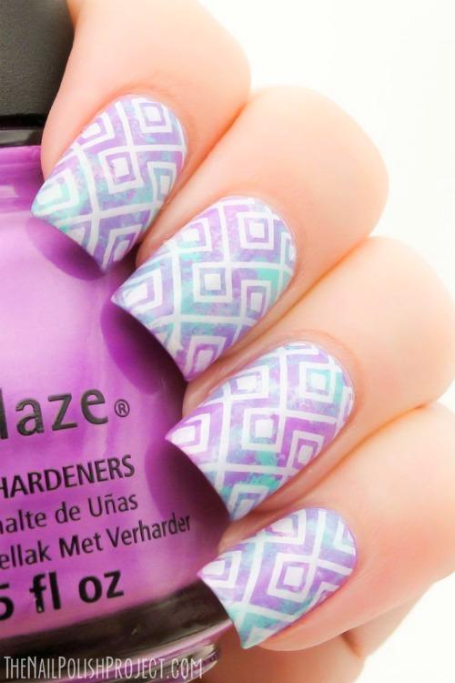 Pastel Geometric Nail Art