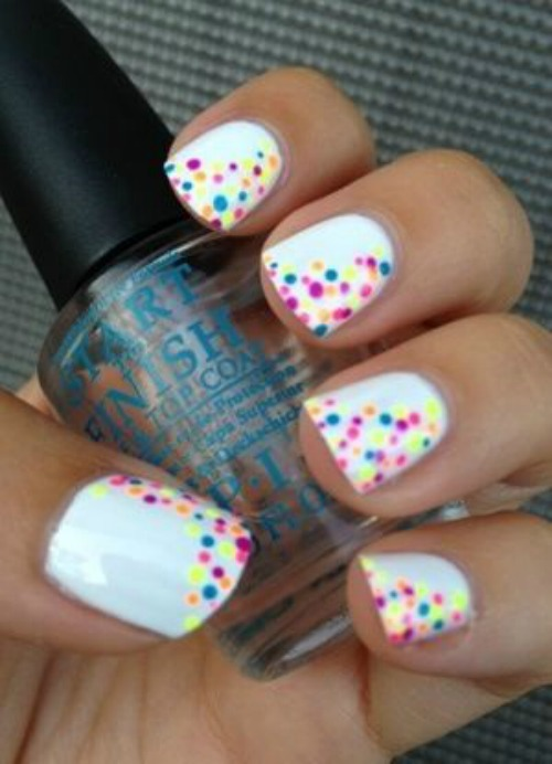 White Nail Polish with Silver Sharpie Polka Dot Nail Art