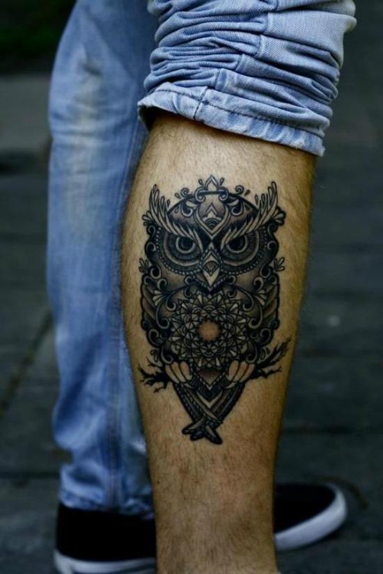 owl tattoo on leg for men