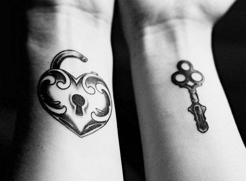 lock and key couple tattoo