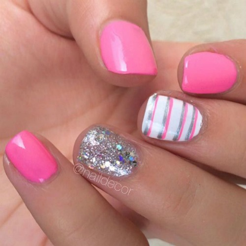 Pink Nail Design for Short Nails