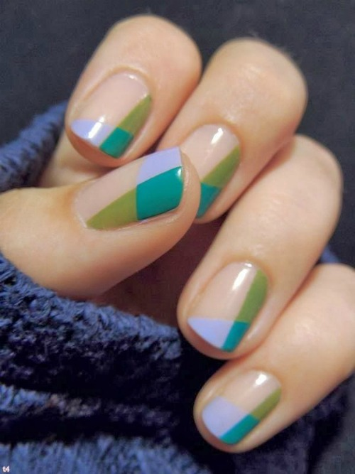 Tribal Style Geometric Nail Art Design