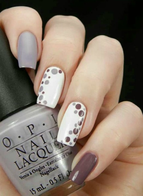 Plum, White and Gray Polka Dot Nail Art