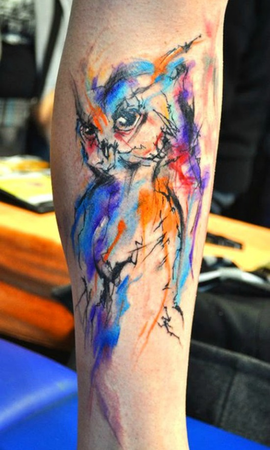 owl tattoo design on leg