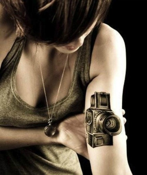 Arm Camera Tattoo Design