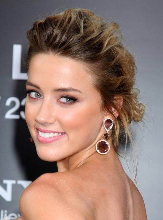 Amber Heard updo for thin