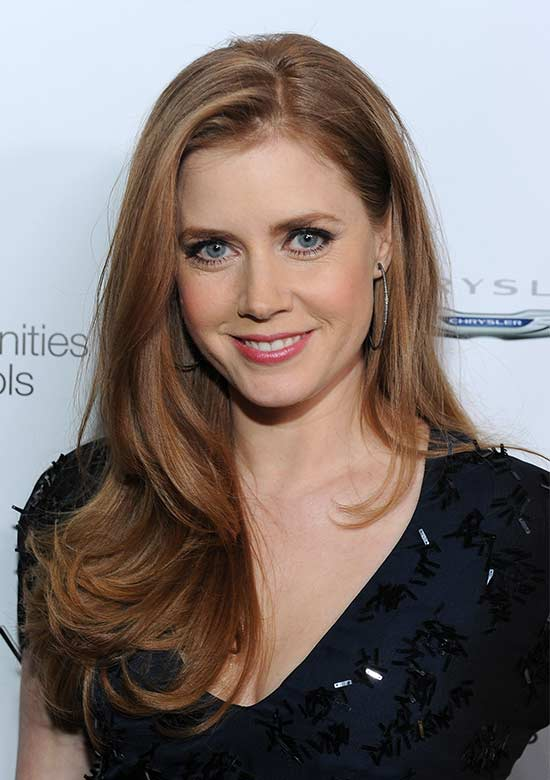 Amy Adams Long hair style for round Face