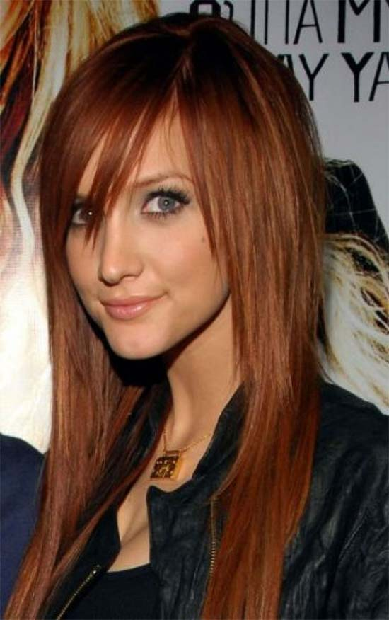 Ashlee Simpson Long Hairstyle with Bangs