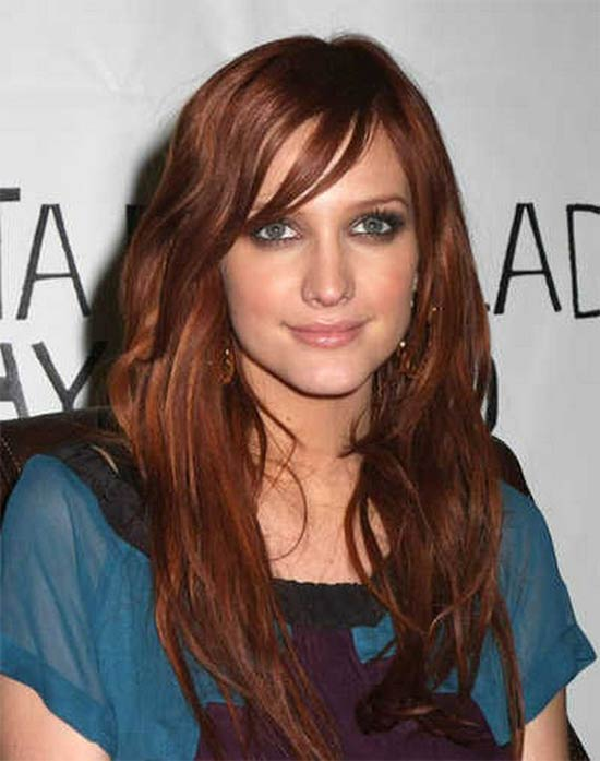 Ashlee Simpson Long layerd Hair styles With bangs