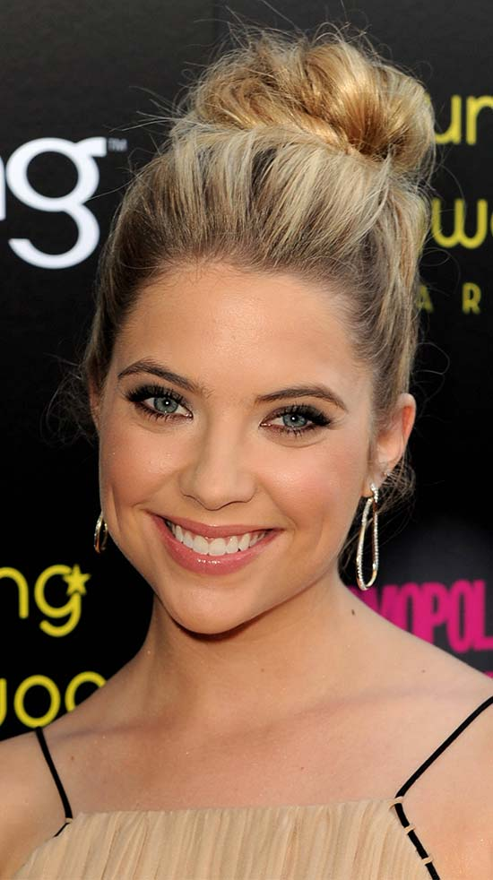 Ashley Benson Bun Hairstyle long hair