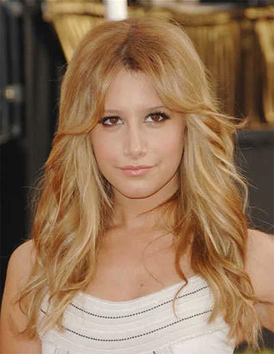 Ashley Tisdale Long Blonde Messy Hairstyle