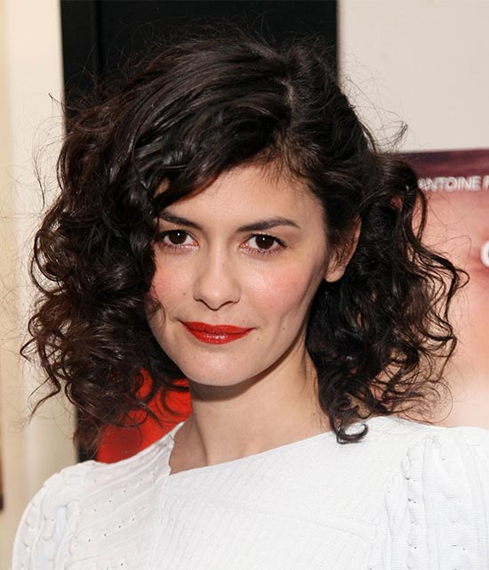 Audrey Tautou Curly Hair with Bangs