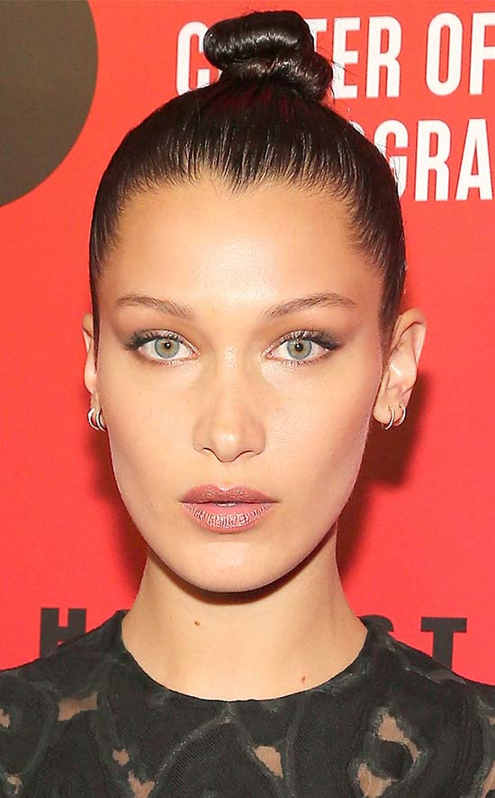 Bella Hadid top knot hair style