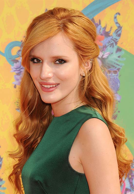Bella Thorne's Long, Red, Wavy, Half Updo Hairstyle