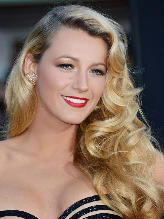 Blake Lively Curly Hair with Bangs
