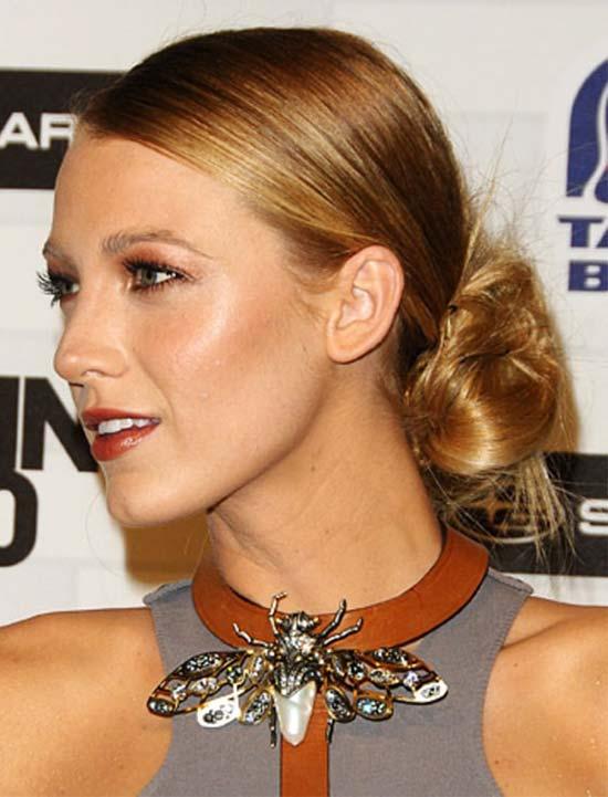 Blake Lively low bun hairstyle