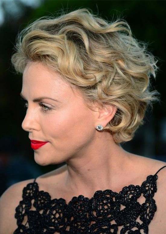 Charlize Theron Curly Hairstyle For Short Fine Hair