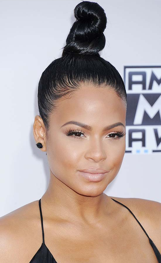 Christina Milian top knot hair style
