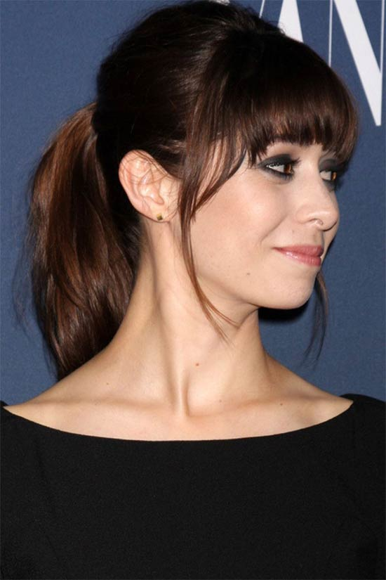 Cristin Milioti ponytail with fringe hairstyle