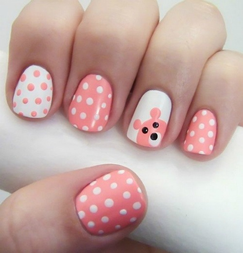 Cute Teddy Bear Polka Dot Nail Art