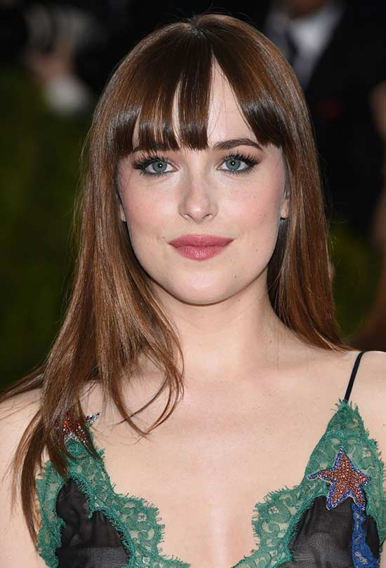 Dakota Johnson Long Hair styles With Bangs