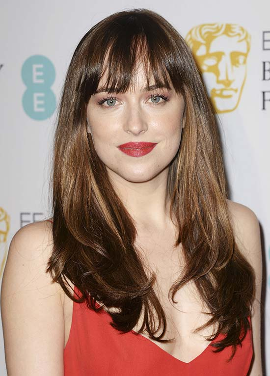 Dakota Johnson Long layerd Hair styles With bangs