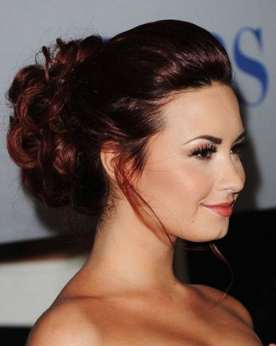 Demi Lovato updo for long hair