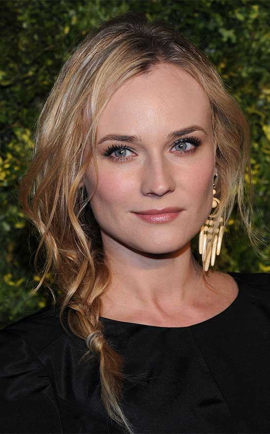 Diane Kruger braided thin hair