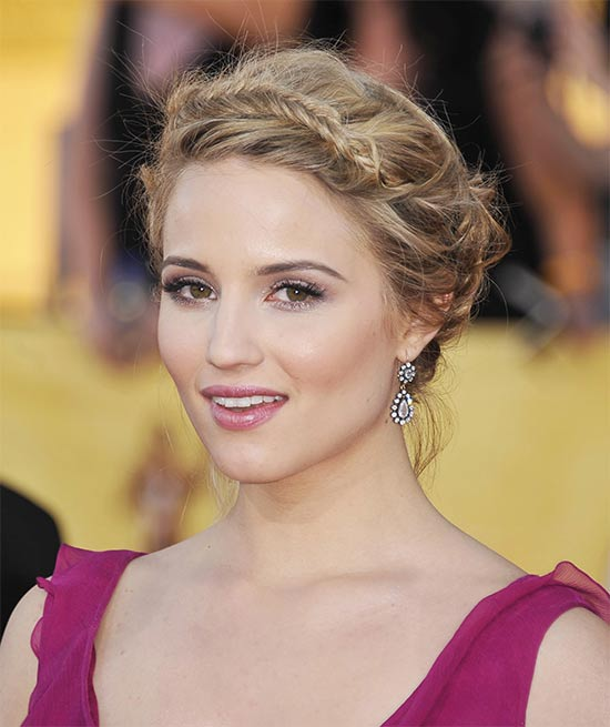 Dianna Agron Bradied messy updo