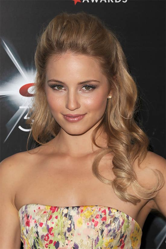Dianna Agron Long, Curly, Romantic, Half Updo