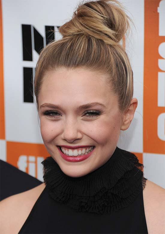 Elizabeth Olsen top knot hair style