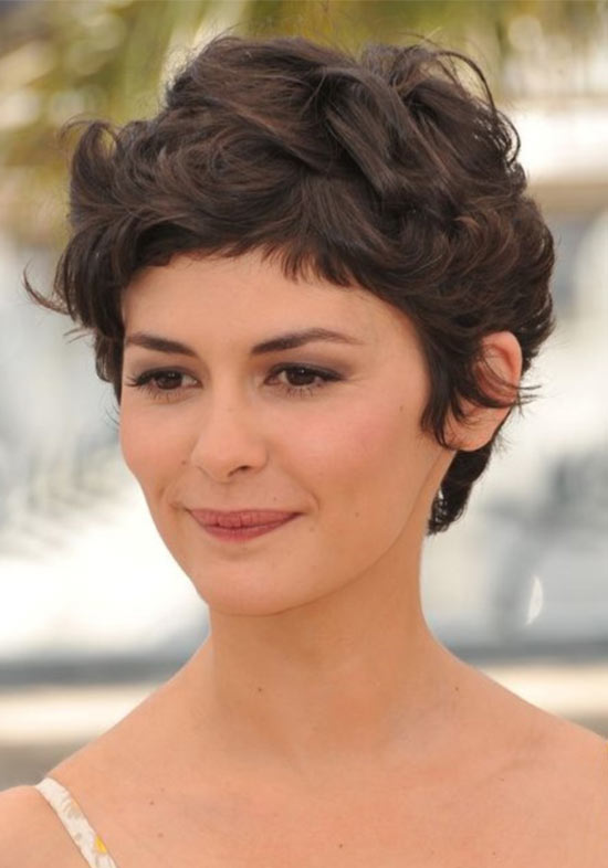 Audrey Tautou pixie haircut for thic hair