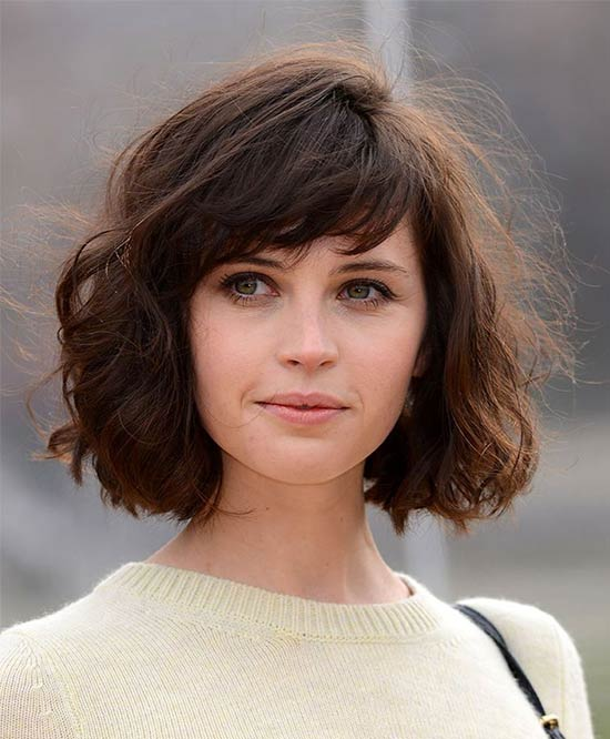 Felicity Jones short shag layered hair cuts