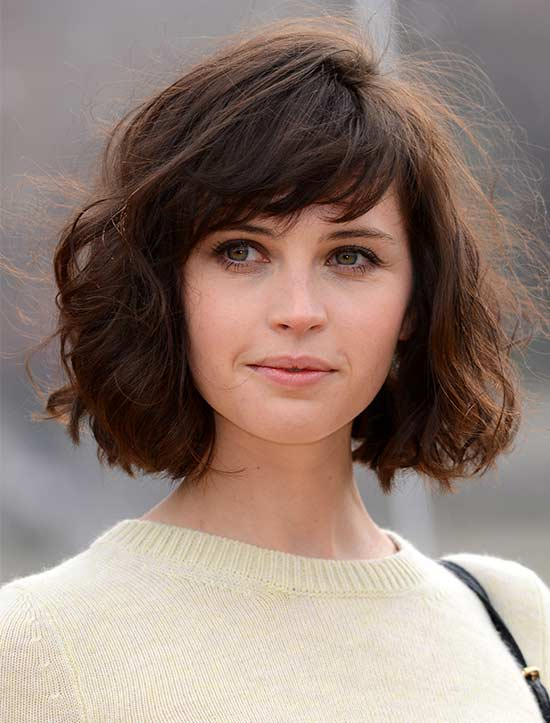 Felicity Jones shot fringe haircut