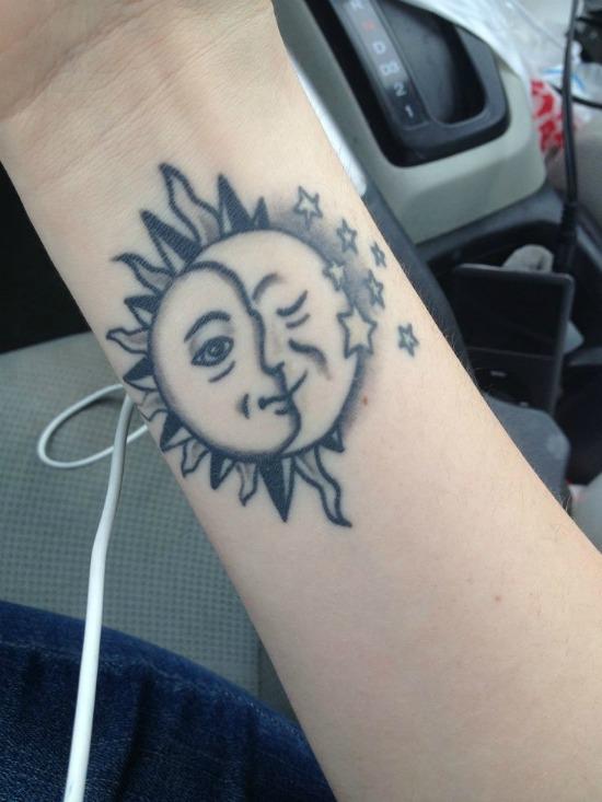 Half Sun Moon Tattoo On Wrist