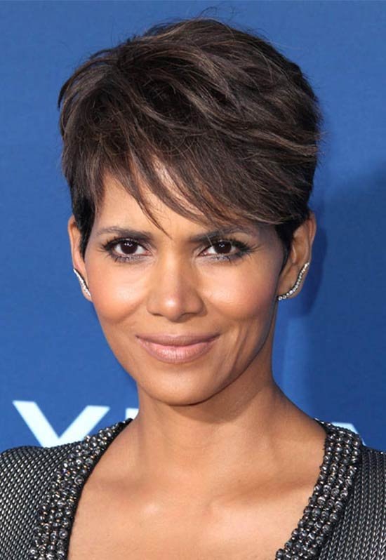 Halle Berry short fringe hairstyle