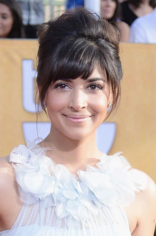 Hannah Simone messy Updo for long hair