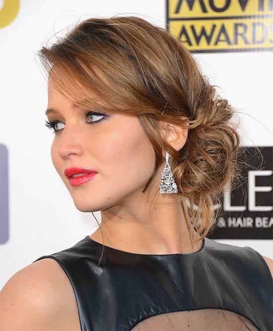 Jennifer Lawrence messy Updo for long hair