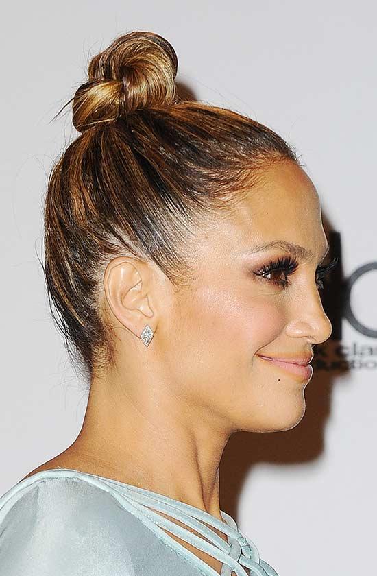 Jennifer Lopez top knot hair style